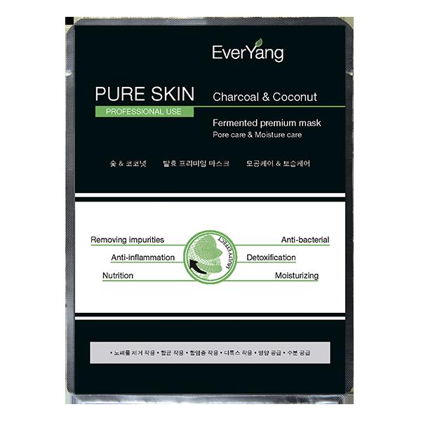 EverYang pure skin charcoal & coconut fermented premium mask Маска «Чистая кожа» на основе кокосовой воды и активированного угля, 1 шт