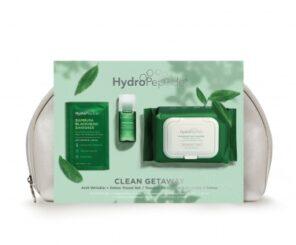 Hydropeptide Косметичка Kit-Clean Get Away-Green Детокс (Поросуживающая очищающая маска против черных точек - 2шт, Пробиотическая эссенция - 30 мл, Мицеллярные очищающие салфетки - 30 шт)