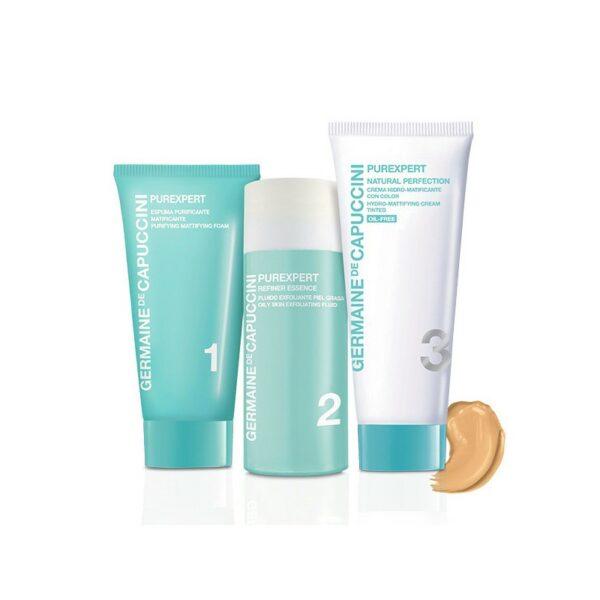 Набор Germaine de Capuccini Программа Purexpert 1-2-3 для жирной кожи (крем с тоном), 30 мл + 50 мл + 50 мл