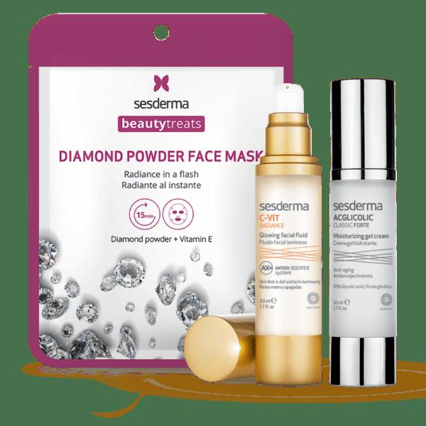 Набор Sesderma: ACGLICOLIC CLASSIC FORTE Moisturizing gel cream Крем-гель увлажняющий + C-VITRADIANCEGlowingfluidФлюиддлясияниякожи + BEAUTYTREATS Diamond powder face mask, 50 мл + 50 мл + 1 шт.