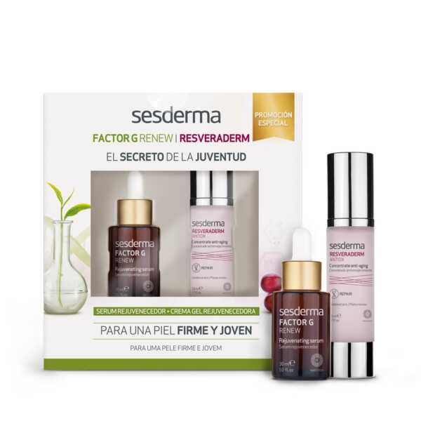 Набор Sesderma: FACTOR G RENEW Rejuvenating serum Сыворотка омолаживающая + RESVERADERM ANTIOX Concentrate anti-aging Крем омолаживающий концентрированный, 30 мл + 50 мл