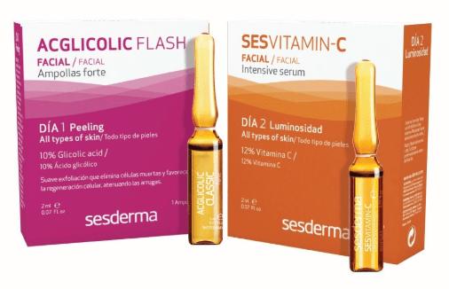 Sesderma Treatment flash peeling + Luminosity (C-VIT SERUM 12%+ ACGLICOLIC C FORTE) Набор для домашнего пилинга «СИЯНИЕ» (C-VIT Сыворотка Интенсивная 12% + Средство в ампулах Фортес гликолевой кислотой), 1,5 мл + 1,5 мл