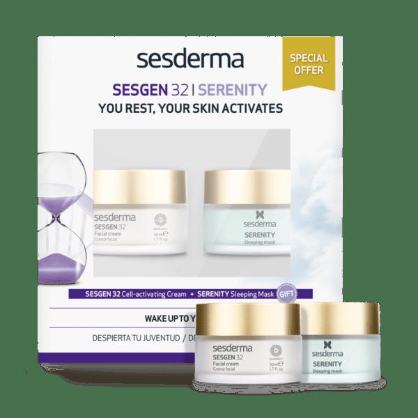 Набор Sesderma: SESGEN 32 Cell activating cream Крем «Клеточный активатор» + Маска ночная для лица SERENITY Sleeping mask, 50 мл + 50 мл
